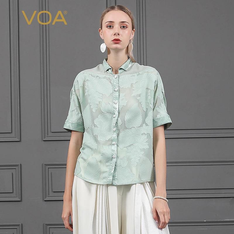 VOA Зеленая мята 100% шелковая блузка Для женщин короткий рукав рубашки свободные парча футболка Повседневное Дамы топы сладкий Корейский сти