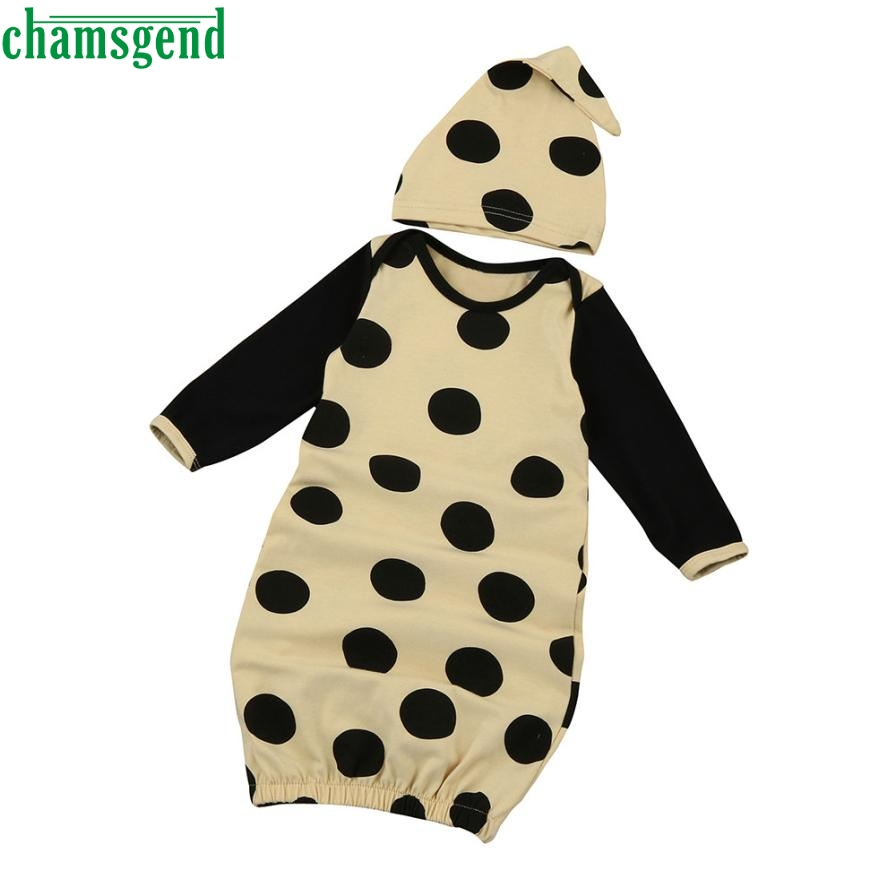 Childrens clothing fashion Newborn Infant Kids Baby Girl Polka Dot Cotton Long Sleeve Pajamas Gown+Hat Clothes Set gift p30