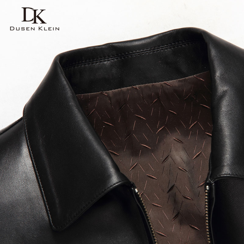 Dusen Klein Men Genuine Leather Jacket Autumn Outerwear Black Slim Simple Business Style Sheepskin Coat 14Z6608 Dusen Klein Men Genuine Leather Jacket Autumn Outerwear Black/Slim/Simple Business Style/Sheepskin Coat 14Z6608