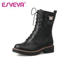 ESVEVA 2016 Lace Up Femmes Chaussures PU en cuir Noir Carré Bas talon Mi-mollet Bottes Bout Rond Femmes Moto Boot Taille 34-43