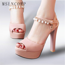 plus size 34-43 summer high heels women sandals Platform fish peep fashion pearls buckle strap Party Wedding Ladies Shoes Female women sandals platform size fashion hoof high heels sexy party for ladies shoes ankle buckle strap rivets decoration sandals