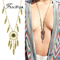 Vintage Accessories Ethnic Jewelry Boho Necklace Antique Gold Silver Blue Enamel Feather Shape Charm Maxi Dreamcatcher Necklace