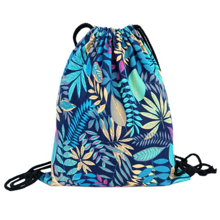 2017 Top Brand Flower Printed Canvas Drawstring Bag Women