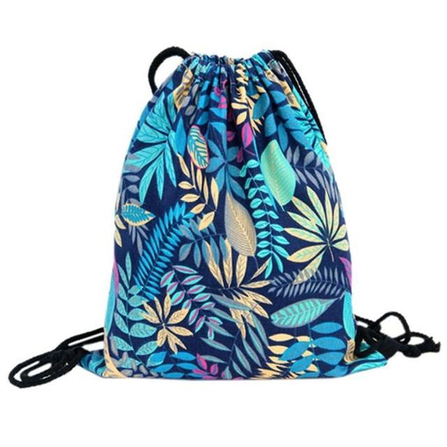 02e8c1578da3 2017 Top Brand Flower Printed Canvas Drawstring Bag Women Mochila Bucket Travel  School Backpack Casual Sack Pack Shoulder Bags