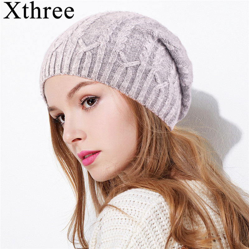 Xthree Female Cashmere winter hat knitted Skullies Beanies hat for women wool embroidery flower hat girls gorros