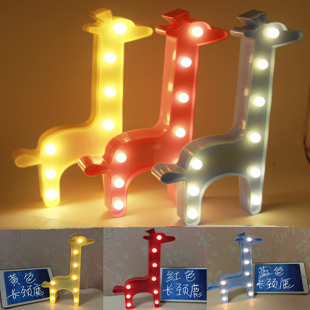 Lovely 3D LED Shine Giraffe Night Light Marquee Letter Lamp for Child Kids Baby Home Bedroom Mall Decor Christmas Birthday Gifts