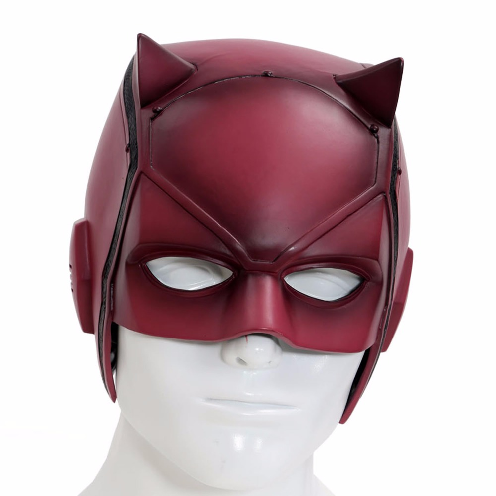 ФОТО Xcoser 2016 New Anime Daredevil Mask for Sale Matt Murdock Cosplay Costume Helmet Brand New Red PVC For Adult Hot Sale