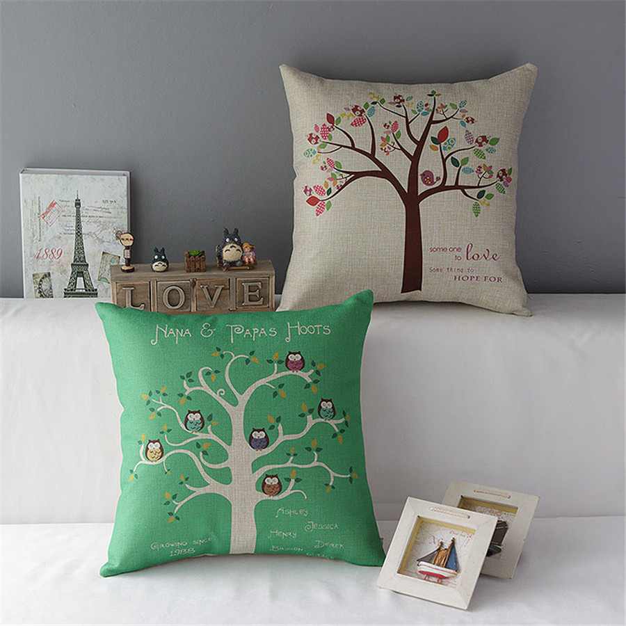 18 square natural beautiful tree four season cotton linen cushion sofa decorative throw pillow. Black Bedroom Furniture Sets. Home Design Ideas