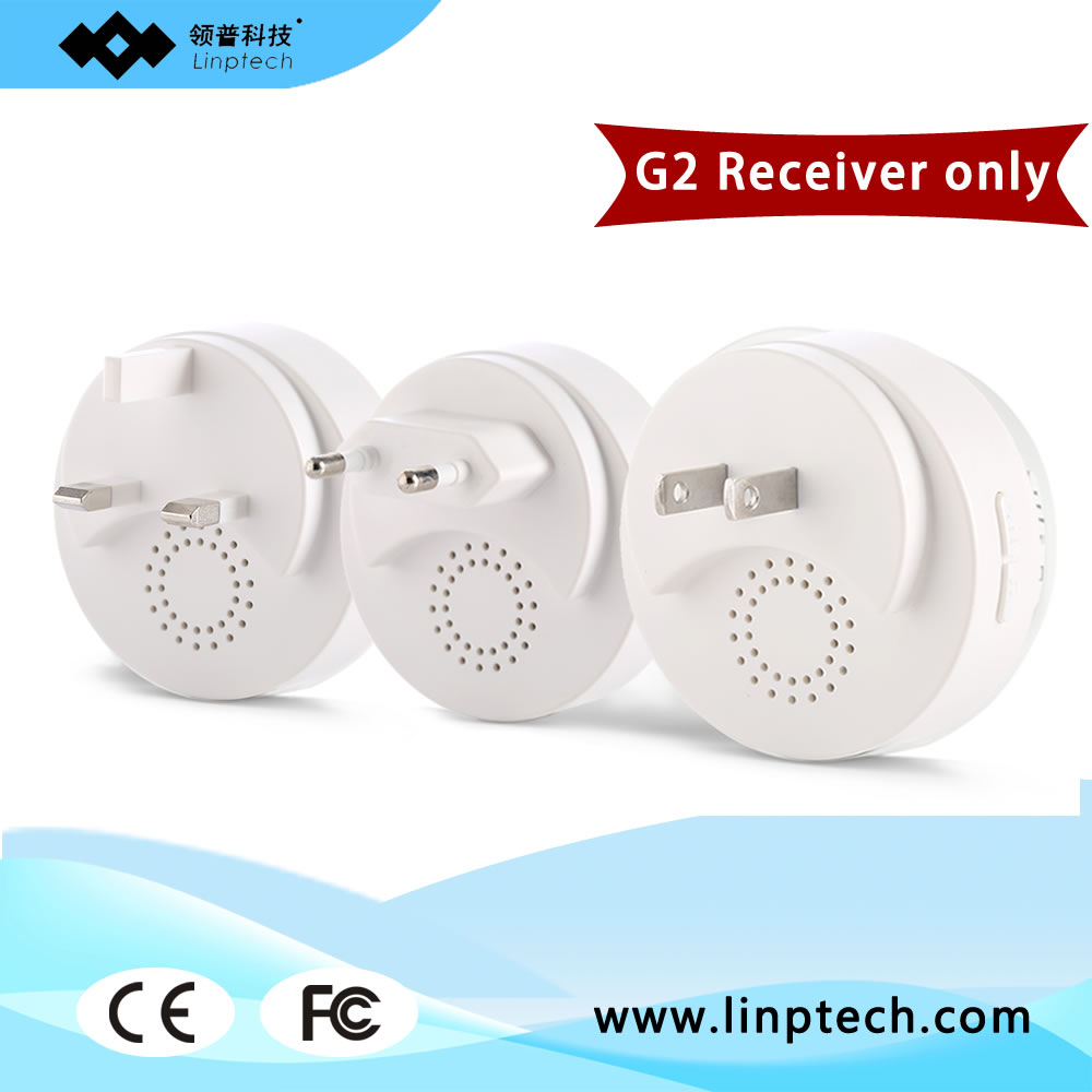 (Accessories FOR linbell G2)Linptech 38 Ringtones AC 110 to 240V White Wireless Door Chime Receiver image