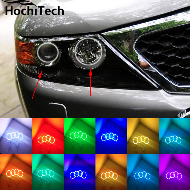 for Kia Sorento R 2009 2010 2011 2012 RGB LED headlight rings halo angel demon eyes with remote controller 2pcs purple blue red green led demon eyes for bixenon projector lens hella5 q5 2 5inch and 3 0inch headlight angel devil demon