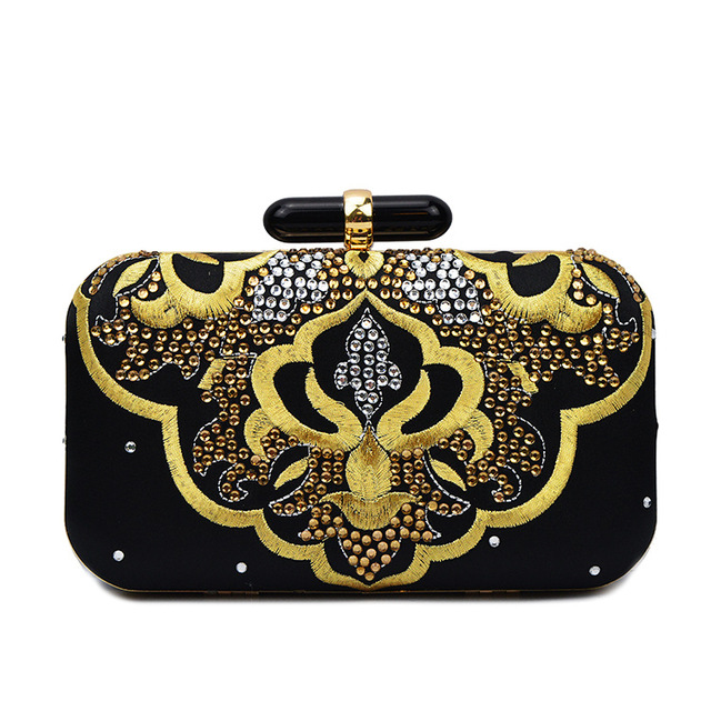 Vintage Minaudiere Women's Evening bag Retro Silk Embroidery Women Clutch Bags Wedding Beaded Female Bag Small Shoulder Bags