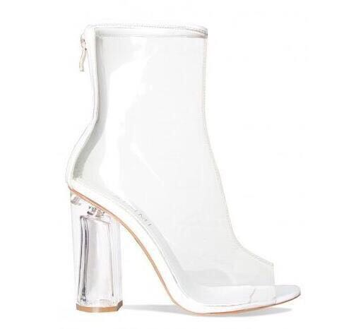 2017New Arrival Summer  Transparent Color Peep toe Woman Sandals Ankle Boots Square Heel Zipper Zapatos Mujer More Color Choices