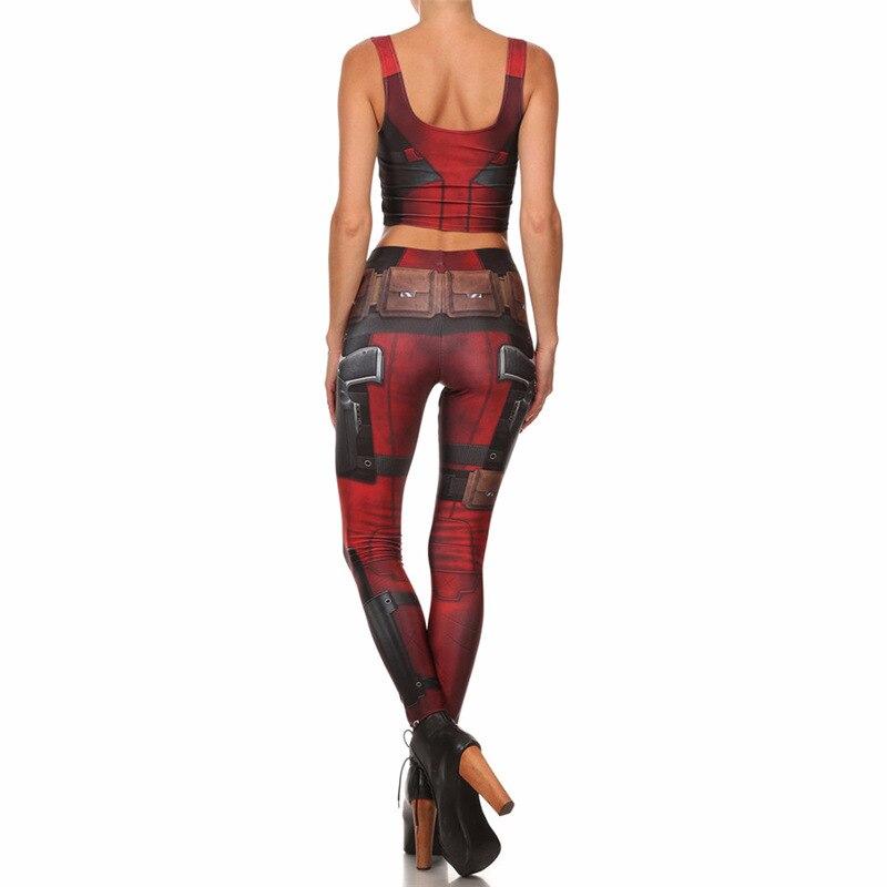 Fãs usar leggings feminino leggin banda desenhada deadpool cosplay legging conjunto de fitness verão para mulher 3d impresso
