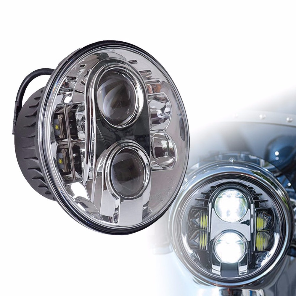 LED Projector Headlight, DOT Motorcycle 7 Inch Round LED Headlights DRL, 7