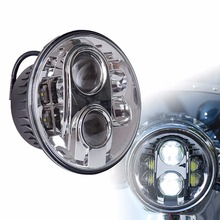 """LED Projector Headlight, DOT Motorcycle 7 Inch Round LED Headlights DRL, 7"""" 80W DRL LED MOTO Headlight for Dyna Street Glide"""