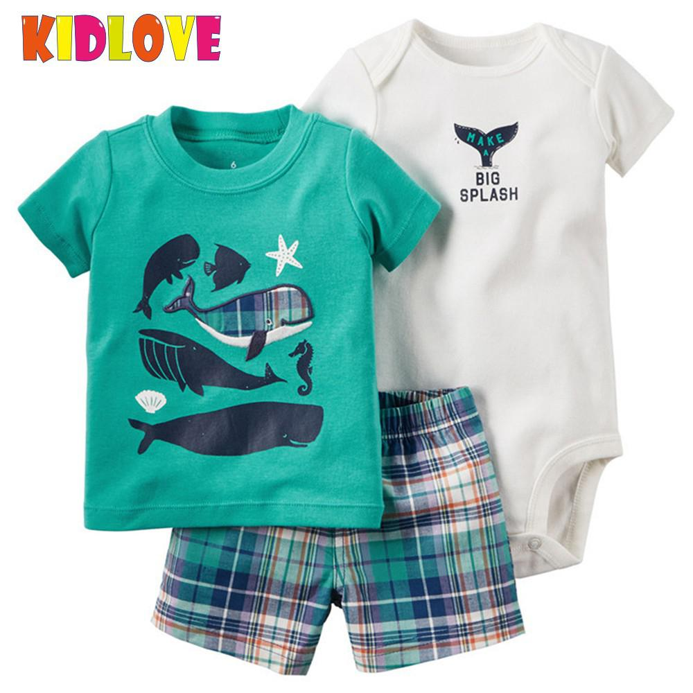 KIDLOVE 3PCS Baby Boy Handsome Clothing Set Short Sleeve Romper + T-shirt + Plaid Shorts Suit Clothes ZK30