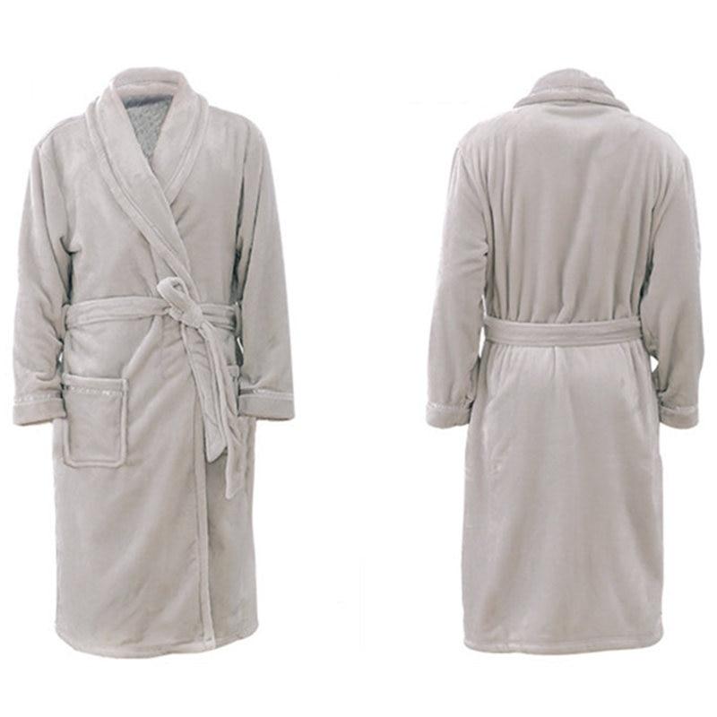 Men Women Luxury Flannel Coral Fleece Spa Bathrobe Long Kimono Bath ...