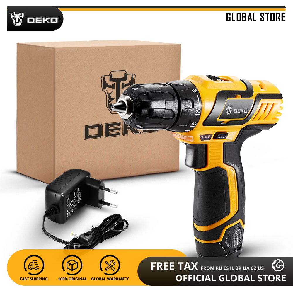 DEKO GCD10 8DU3 10 8V Lithium Battery Electric Screwdriver Variable Speed DIY Cordless Drill LED Mini