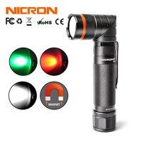 Nicron магнит 90 градусов Перезаряжаемые светодиодный фонарик ультра-яркий высокой Яркость Водонепроницаемый 3 режима 300lm Масштабируемые свет...