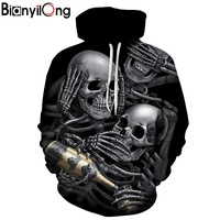 BIANYILONG New Fashion Men Women 3d Hoodies Skulls Champagne Print Hooded Hoodies Thin 3d Sweatshirts Hoody