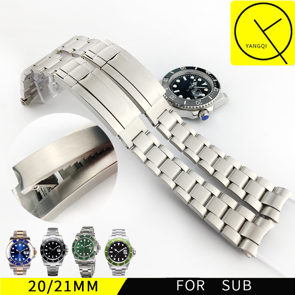 Watchband For Rolexwatch Solid Stainless Steel Watch bands Bracelet Watch Accessories Silver 20mm 21mm Submariner Man Watch+Tool stainless steel cuticle removal shovel tool silver