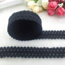 """5 ярдов/партия 3/"""" 20 мм многоцелевой черный складной эластичный спандекс Кружевная повязка-галстук волос аксессуары шнуруют отделку для вышивания"""