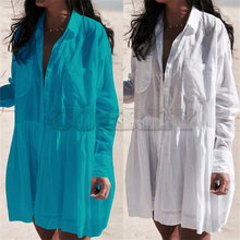 цена на 2019 White Cotton Tunic Beach Dress Plus Size Women Summer Beachwear Long Sleeve Turn Down Collar Pocket Front Mini Dress N662