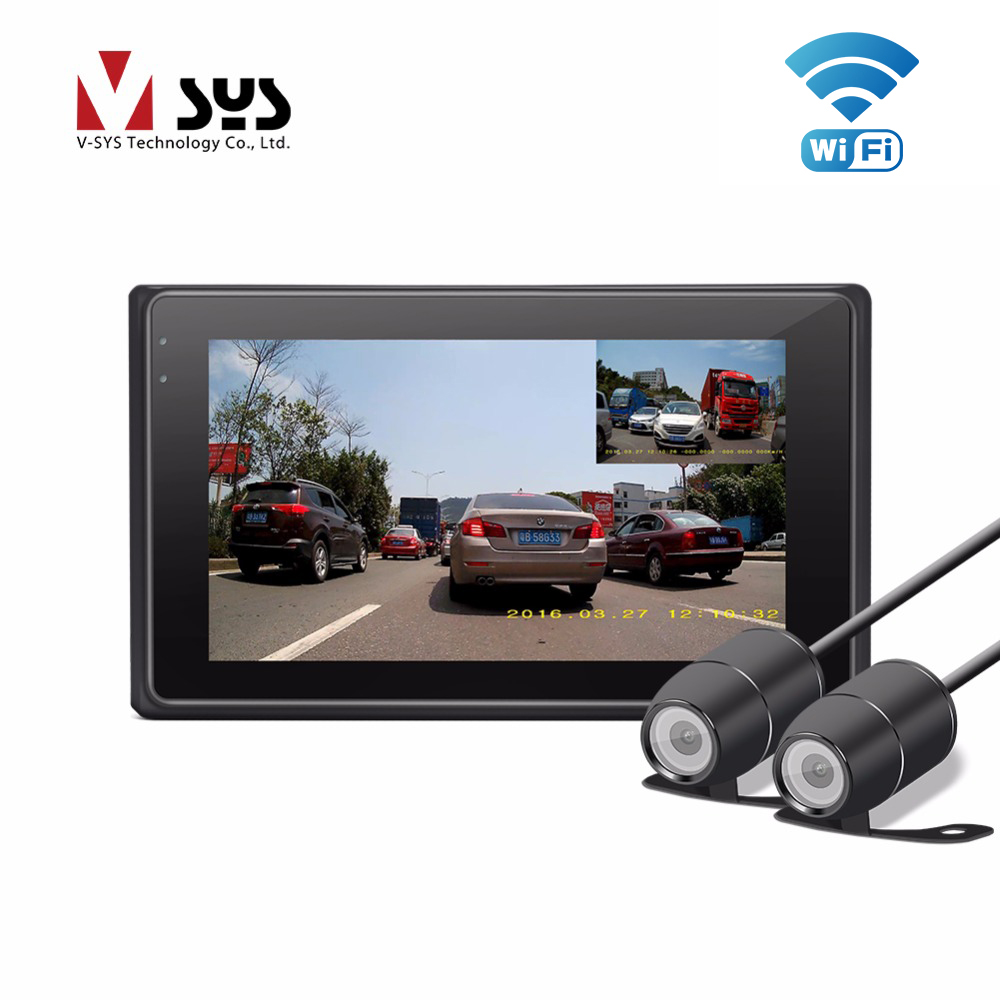VSYS X2 Upgrade M2F WiFi H.264 2CH Motorcycle Camera Real 1080P Dual IP68 Lens Front & Rear View Motorcycle DVR Black Box, GPS vsys motorcycle dvr 3 0 x2 upgrade m2f wifi real fhd dual 1080p motorcycle camera dash cam front