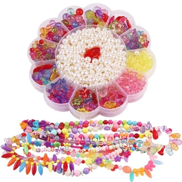 Children Flower Box Diy Plastic Beads Toys Kids Handmade Art Craft