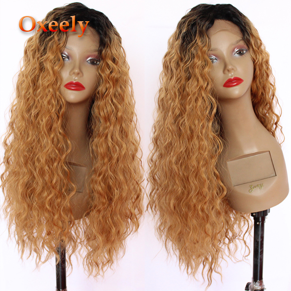 Oxeely Synthetic Lace Front Wig Blonde Curly Hair 180 Density Ombre Brown Long Loose Curl Wig