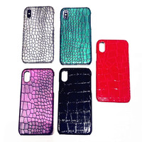 3D Crocodile Skin Leather Case For iPhone X XS MAX XR 10 8 7 6 S 6S plus Case Funda Cover Black Red Green Grey Purple Wholesale