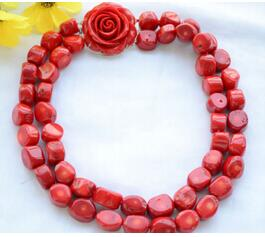 XUEYUN 214++++2strands 17mm real baroque red coral bead necklace