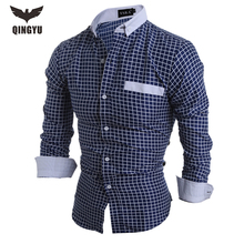 Camisa Masculina Slim Fashion Men Shirt 2016 New Brand Casual Long-Sleeved  Chemise Homme Plaid Dress Male  High Quality Clothes