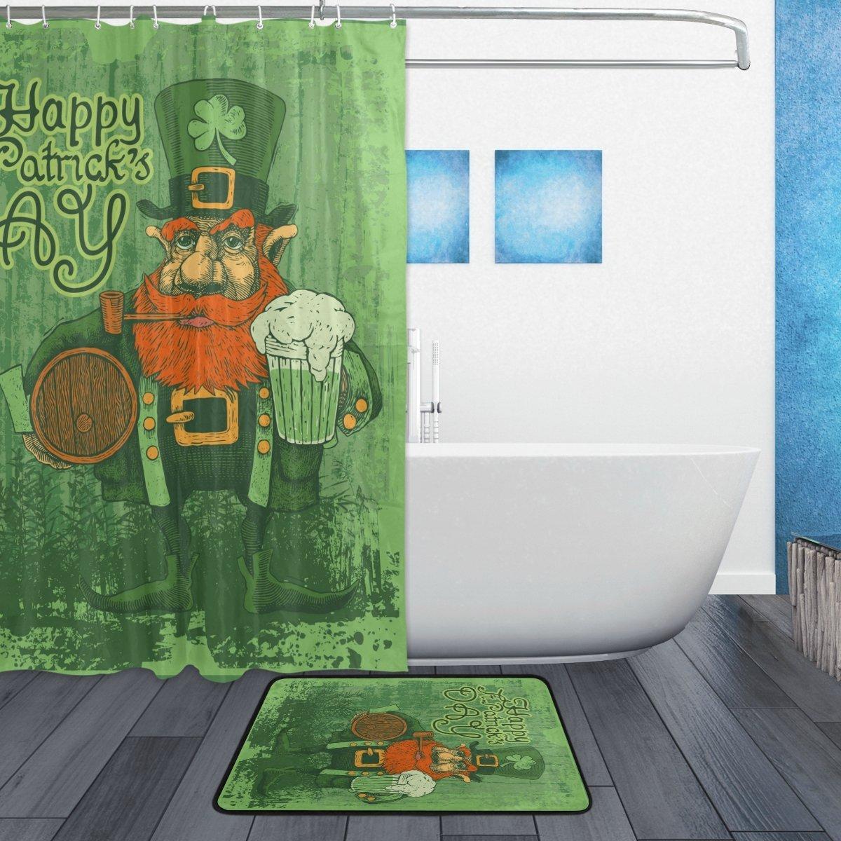 Ретро Счастливый День Святого Патрика душ Шторы и Коврики комплект Винтаж Стиль счастливый клевер Водонепроницаемый Ткань Ванная комната ...