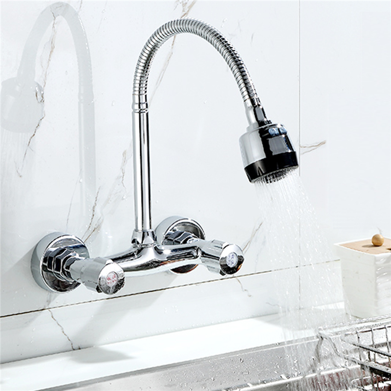 Xueqin 360 Wall Mounted Double Holes Flexible Kitchen Faucet Mixers ...