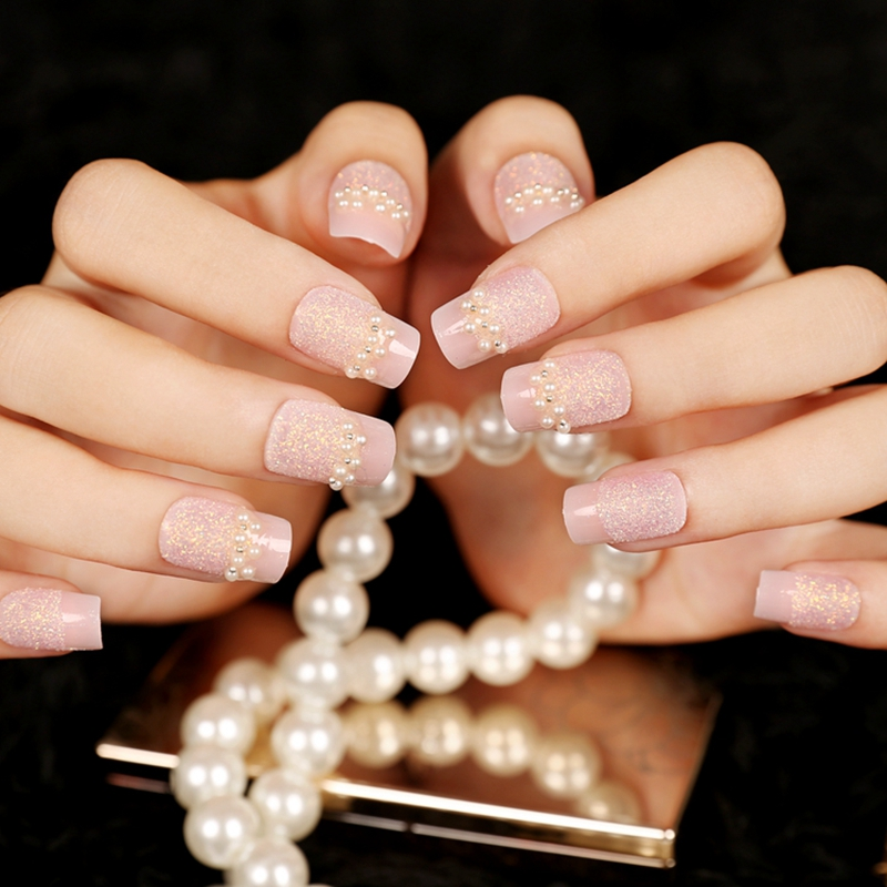 24pcs Baby Pink Colorful Glitter French False Nail Pearl Gems Fake ...