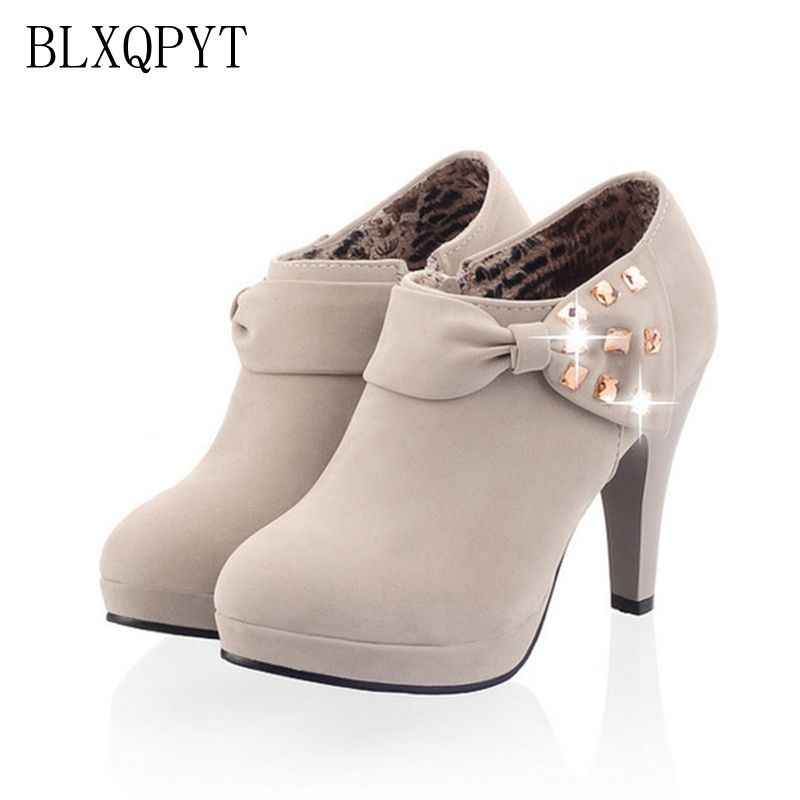 LANYUXUAN 2018 Women Shoes Big Size Sale 34-43 Apricot New Women Pumps Platform High Heels Ladies Party Shoes C-8