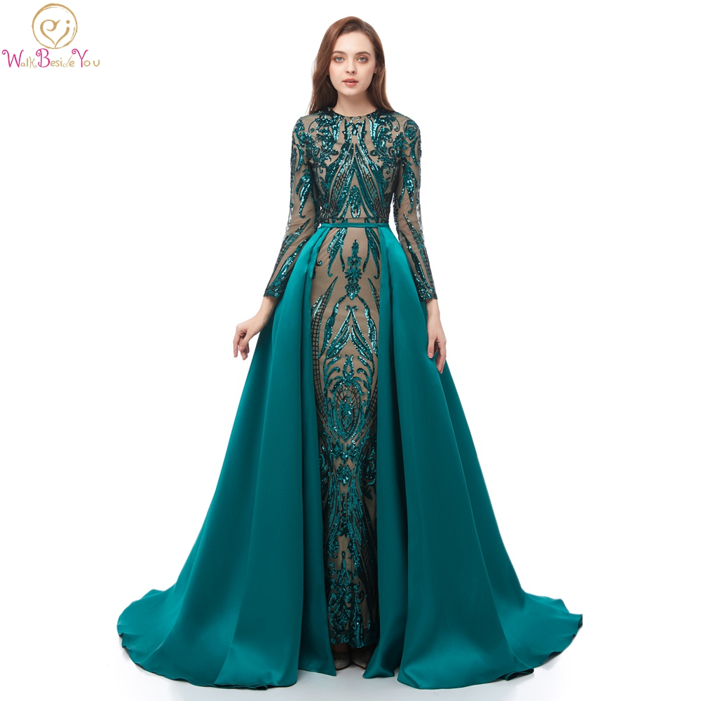 Muslim   Prom     Dresses   Saudi Arabia 2019 Turquoise Blue Sequined Full Sleeves Mermaid Removable Train Evening Gowns 100% Real Photo