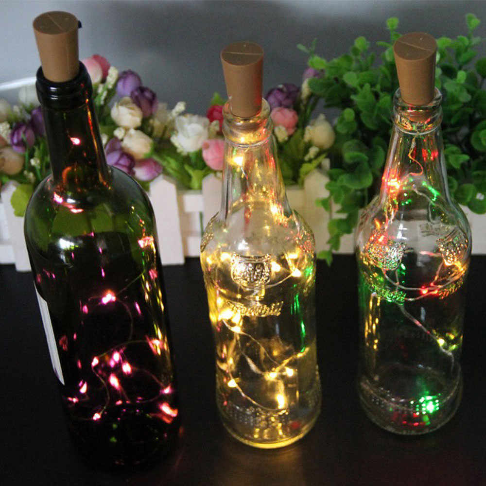 20 LEDS Wine Bottle Lights With Cork Built In Battery LED Cork Shape Silver Copper Wire Colorful Fairy Mini String Lights#esw