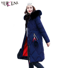 HIJKLNL Plus Size Women Winter Jacket Coat High Quality Long Hooded Fur Collar Thick 2017 New Cotton Padded Parka Mujer NA325
