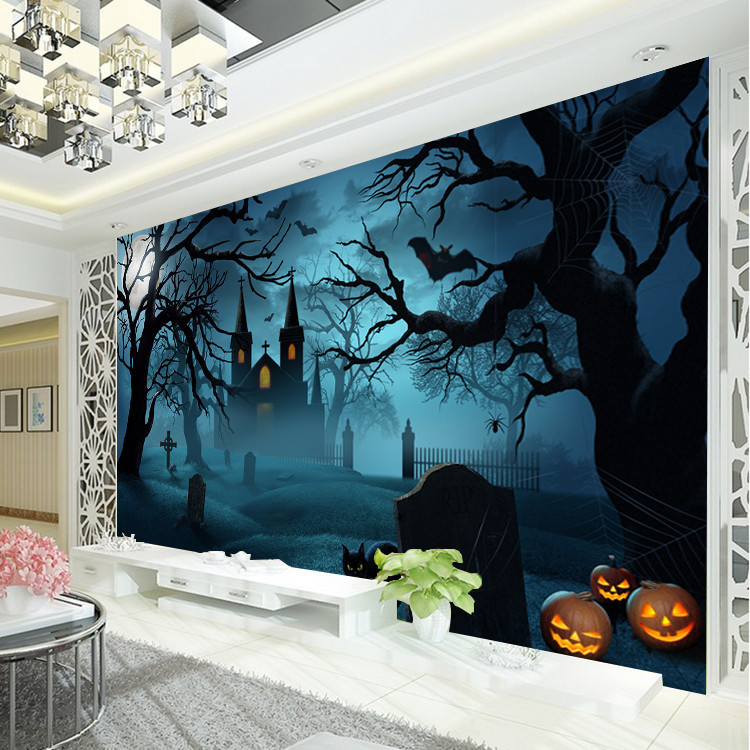 Halloween horror photo wallpaper pumpkin lamp wallpaper for Mural art designs for bedroom
