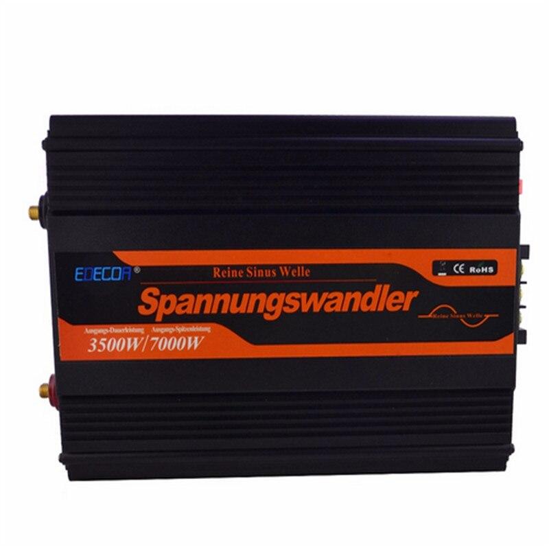 Эдек Чистая синусоида Инвертор UPS и функцией зарядки 3500 Вт 12 В до 230 В 7000 Вт пик DC К AC Открытый дома преобразователь частоты