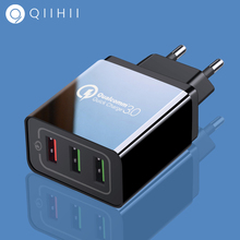QIIHII Usb Charger Quick Charge 3.0 For iphone 7 8 X XS MAX 3 Port Fast Samsug S8 S9 Xiaomi Huawei Wall