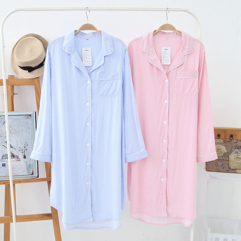 Women's Viscose Cardigan Striped Plus Size Long-sleeved Nightdress Womens Knitted Robe Dressing Gown Pink Bathrobe Sleepwear