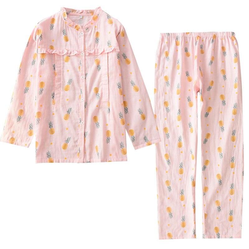 100% Cotton Gauze Long Sleeve Maternity Wear Womens   Pajama     Set   Printing   Pajamas   Breastfeeding Pijama Mujer Full Length Pyjamas