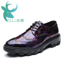 2018 New High Quality PU Patent Leather Men Brogues Shoes Lace Up Bullock Business Dress Men