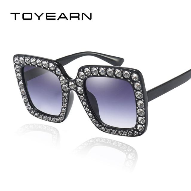 TOYEARN 2018 Nouvelle Mode Carré lunettes de Soleil Femmes De Luxe Marque  Designer Vintage Diamant Cadre c392055cd684