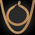 U7 hombres sistemas de la joyería de oro amarillo/oro rosa/negro plateado arma cadena con eslabón cubano collar pulsera al por mayor conjuntos s566