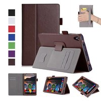 Luxury Cowhide Magnetic Stand PU Leather Folio Cover Case Card Hand Strap For Lenovo Tab 3