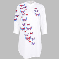 2016 Spring Women Loose New Fashion Cotton Blouse 3d Butterfly Embroidered Shirt Female
